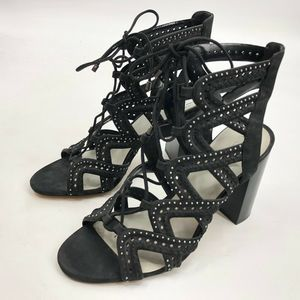 1 State Kelsey Caged Lace Up Booties 9M 39 Black